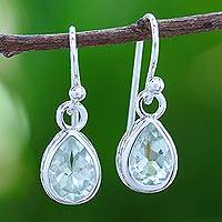 Rhodium plated amethyst dangle earrings, 'Glistening Dewdrops in Green' - Rhodium Plated Amethyst Dangle Earrings in Green
