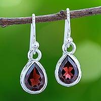 Rhodium plated garnet dangle earrings, 'Glistening Dewdrops' - Rhodium Plated Garnet Dangle Earrings from Thailand