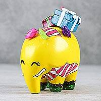 Ceramic figurine, 'Playful Happiness' - Hand-Painted Ceramic Elephant Figurine in Yellow