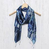 Tie-dyed silk scarf, 'Moving Skies'