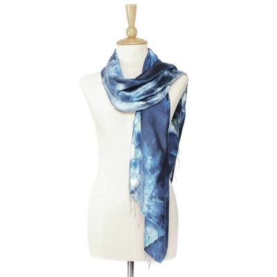 Tie-dyed silk scarf, 'Moving Skies' - Hand Woven 100% Silk Tie Dye Scarf in Blue from Thailand