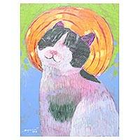 'Aura Cat' - Signed Naif Painting of a Happy Cat from Thailand