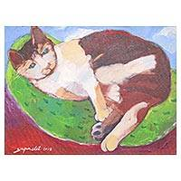 'Chilling' - Signed Naif Painting of a Lying Cat from Thailand