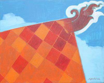'Thai Roof I' - Signed Naif Painting of a Red Roof from Thailand