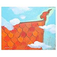 'Thai Roof II' - Signed Naif Painting of an Orange Roof from Thailand