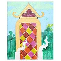 'Thai Pagoda' - Signed Colorful Naif Painting of a Pagoda from Thailand