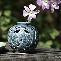 Celadon ceramic vase, 'Blue Wonder' - Handcrafted Celadon Ceramic Vase from Thailand