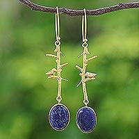 Gold plated lapis lazuli dangle earrings, 'Bird on a Branch' - Nature-Themed Gold Plated Lapis Lazuli Dangle Earrings