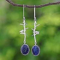Lapis lazuli dangle earrings, 'Bird on a Branch' - Nature-Themed Lapis Lazuli Dangle Earrings from Thailand