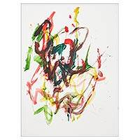 Elephant painting, 'Love Fireworks' - Colorful Abstract Painting by a Thai Elephant Artist