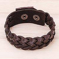 Men's leather braided wristband bracelet, 'Love Weave in Espresso' - Men's Leather Braided Wristband Bracelet in Espresso