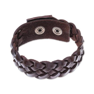 Men's leather braided wristband bracelet, 'Love Weave in Espresso' - Men's Leather Braided Wristband Bracelet in Espresso