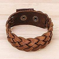 Men's leather braided wristband bracelet, 'Love Weave in Sepia'