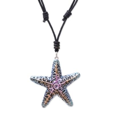 Hand-Painted Recycled Paper Starfish Necklace from Thailand