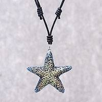 Recycled paper pendant necklace, 'Yellow Starfish' - Recycled Paper Starfish Pendant Necklace from Thailand