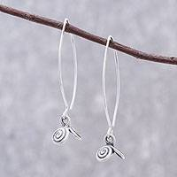 Silver dangle earrings, 'Karen Swirl' - Spiral Motif Karen Silver Dangle Earrings from Thailand