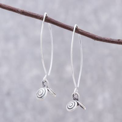 Silver dangle earrings, Karen Swirl