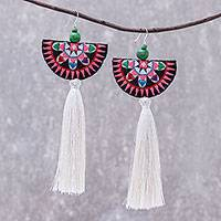 Cotton blend dangle earrings, 'Festive Hill Tribe' - Hand-Embroidered Cotton Blend Dangle Earrings from Thailand