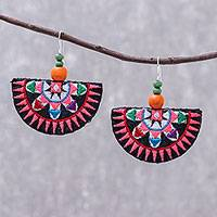 Cotton blend dangle earrings, 'Hill Tribe Party in Black' - Hill Tribe Cotton Blend Dangle Earrings in Black