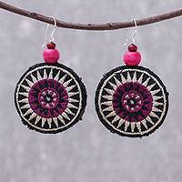 Cotton blend dangle earrings, 'Exotic Circles' - Round Embroidered Cotton Blend Dangle Earrings