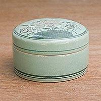 Celadon ceramic jewelry box, 'Tranquil Vision' - Fair Trade Celadon Ceramic Jewelry Box