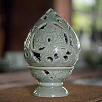 Celadon ceramic candleholder, 'Magic' - Celadon ceramic candleholder