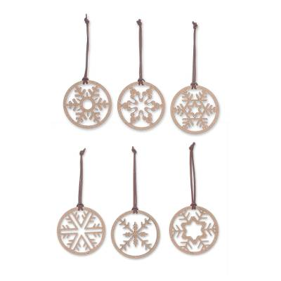 Wood ornaments, 'Let it Snow' (set of 6) - Set of 6 Handmade Wood Snowflake Ornaments from Thailand