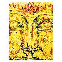 'Tranquilly' - Signed Buddha-Themed Painting in Yellow from Thailand