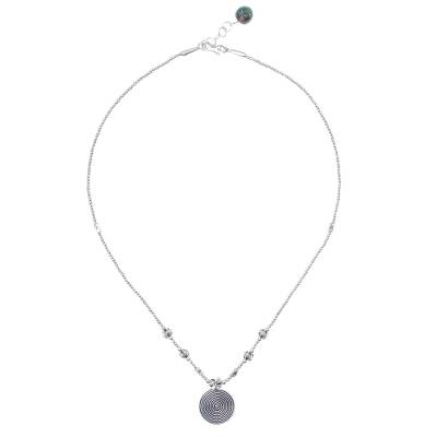 Silver and agate beaded pendant necklace, 'Cool Hill Tribe' - Karen Silver and Agate Beaded Pendant Necklace from Thailand