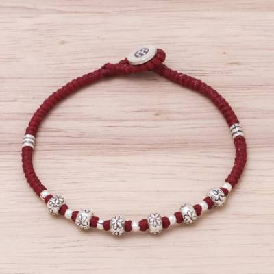 Silver beaded bracelet, 'Daisy Day in Red' - Floral Karen Silver Beaded Bracelet in Red from Thailand