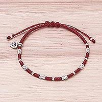 Silver beaded bracelet, 'Inner Heart in Red' - Karen Silver Beaded Heart Bracelet in Red from Thailand