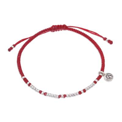 Silver beaded bracelet, 'Bohemian Life in Red' - Karen Silver Beaded Bracelet in Red Crafted in Thailand