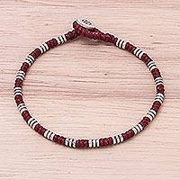 Silver beaded bracelet, 'Storytelling Knots in Red' - Karen Silver Beaded Bracelet in Red from Thailand