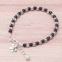 Garnet beaded bracelet, 'Garnet Garden' - Garnet and Karen Silver Beaded Bracelet from Thailand