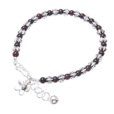 Garnet beaded bracelet, 'Garnet Garden' - Garnet and Karen Silver Beaded Bracelet from Thailand