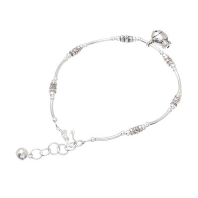 Fish-Themed Karen Silver Beaded Bracelet from Thailand