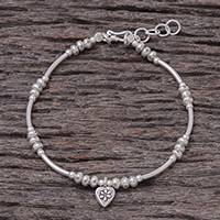 Silver beaded bracelet, 'Love Hill Tribe' - Heart Charm Karen Silver Beaded Bracelet from Thailand