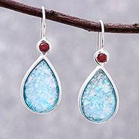 Roman glass and garnet drop earrings, 'Roman Glitter' - Drop-Shaped Garnet and Roman Glass Drop Earrings