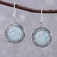 Glass dangle earrings, 'Roman Glamour' - Round Roman Glass Dangle Earrings Crafted in Thailand