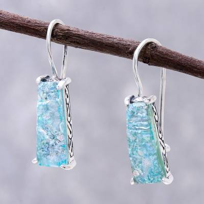 Roman glass drop earrings, 'Roman Towers' - Handcrafted Roman Glass Drop Earrings from Thailand