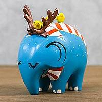 Ceramic figurine, 'Winter Elephant' - Handmade Turquoise Ceramic Winter Elephant from Thailand