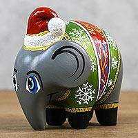 Ceramic figurine, 'Christmas Elephant' - Christmas-Themed Ceramic Elephant Figurine from Thailand