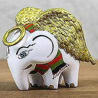 Ceramic figurine, 'Angel Elephant' - Hand-Painted Ceramic Angel Elephant Figurine from Thailand
