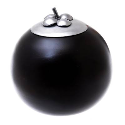 Fruit-Shaped Wood and Pewter Decorative Jar (4 in.)