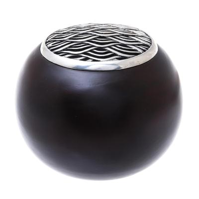 Handmade Raintree Wood and Pewter Decorative Jar (4 inch)