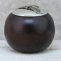 Wood and pewter decorative jar, 'The Dragonfly' (4 inch) - Wood and Pewter Dragonfly Decorative Jar (4 in.)