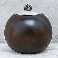 Wood and pewter decorative jar, 'The Porcupine' (5 inch) - Handcrafted Raintree Wood and Pewter Porcupine Jar (5 inch)
