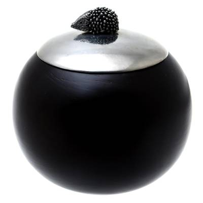 Wood and Pewter Porcupine Decorative Jar (4 in.)