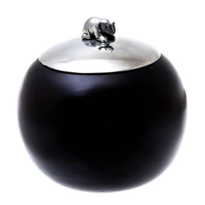 Wood and Pewter Elephant Decorative Jar (4 in.)