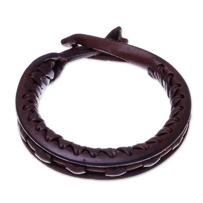 Leather bangle bracelet, 'Surrounded by Beauty' - Artisan Crafted Leather Bangle Bracelet from Thailand